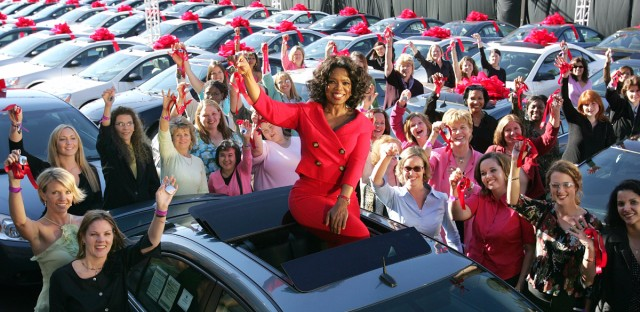 Oh, to be a member of Oprah's audience on that fateful day in September, 2004, when everyone got a Pontiac.