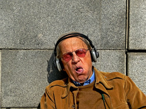 Sometimes you just have to lie down to listen. Especially if you're old.